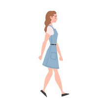 Woman Character In Denim Blue Dress Going Or Walking Taking Steps Forward Side View Vector Illustration