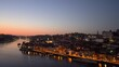 The Ribeira district in in Porto enlighten at night blue hour, Portugal