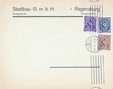 Briefumschlag Envelope Vintage Retro Alt Old Briefmarken Stamp Gestempelt Used Frankiert Cancel Regensburg Deutsches Reich Stadtbau Fernrpech 1923 März Lila Blau Braun