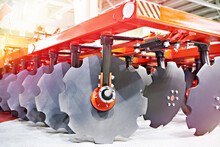 Trailed In-line Disc Harrow At Agricultural Exhibition