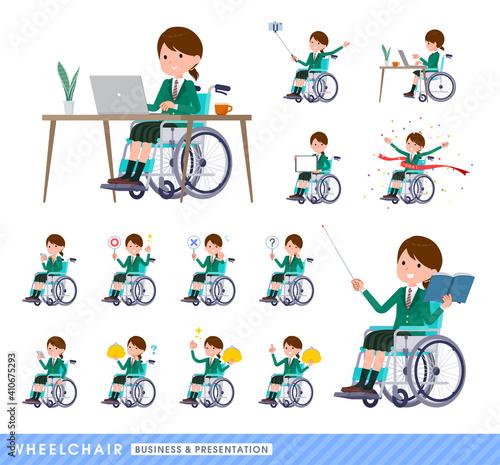 Fényképezés flat type school girl Green Blazer_wheelchair-business