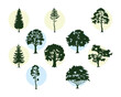 bunsle of ten trees plants forest silhouettes icons