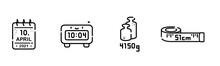 Symbole Für Babykarte, Darstellung Der Geburtsdaten: Kalender Für Geburtsdatum, Digitaler Wecker Für Uhrzeit, Zwei Gewichte Für Geburtsgewicht Und Maßband Für Die Größe