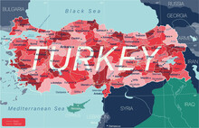 Turkey Country Detailed Editable Map With Regions Cities And Towns, Roads And Railways, Geographic Sites. Vector EPS-10 File