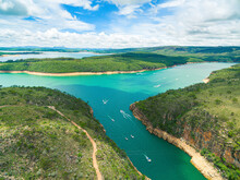 Aerial Panoramic View At The Canyons Of Furnas, Boat Rides And The Sea Of Mines At Capitólio - MG, Brazil. Brazilian Tourist Destination.