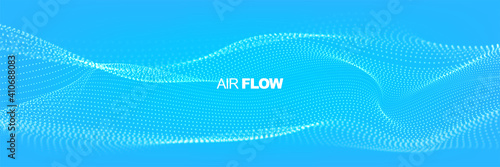 Fototapeta Flowing particles with depth of field. Air flow. Particle waves showing a stream of clean fresh air. Vector illustration. obraz