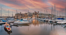 Senglea Marina At Sunset On The Island Of Malta