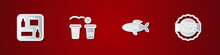 Set Beer Menu, Pong Game, Dried Fish And Bottle Cap With Beer Icon. Vector.