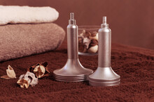 Spa Composition With Handl Tools For Vacuum Massage Therapy And Dry Flowers For Decoration