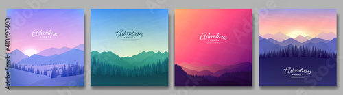 Obraz Vector illustration. A set of mountain landscapes. Geometric minimalist flat style. Sunrise, misty terrain with slopes, mountains near the forest. Design for banner, blog post, social media template - fototapety do salonu
