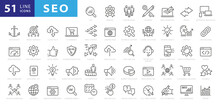 Outline Web Icons Set - Search Engine Optimization. Thin Line Web Icon Collection. Simple Vector Illustration