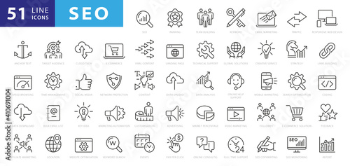 Obraz Outline web icons set - Search Engine Optimization. Thin line web icon collection. Simple vector illustration - fototapety do salonu