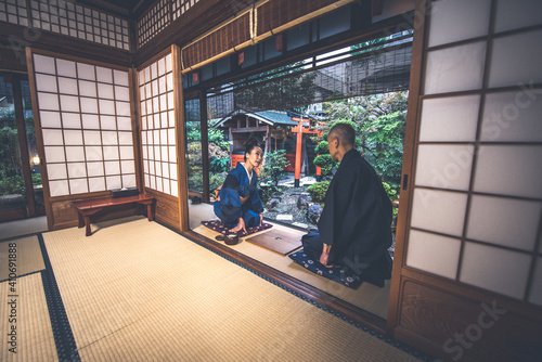 Fotografie, Tablou Senior couple lifestyle moments in a traditional japanese house