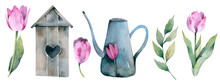 Gardening Spring Set. Watercolor Polka Dot Rubber Boots, Watering Can, Butterfly, Roses Bouquet. Vintage Spring Illustration Set With Gumboots. Art