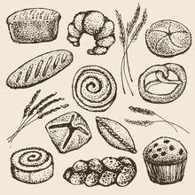 Set Of Baking Bread, Pies, Rolls, Cupcakes