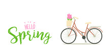Spring Illustration With Bicycle And Flowers. Illustration