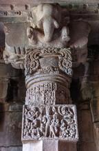 Bagalakote, Karnataka, India - November 7, 2013: Pattadakal Temple Complex. Gray Stone Sculpted Pillar With Elephant Head And Romantic Composition Of Human Figurattadakal, Bagalakote, Karnataka, India