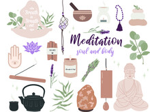 Meditation Set Elements Mindfulness Piece Home Yoga Relaxation Buddha Namaste  Tibetan Bowl Incense Palo Santo Crystal Gems  Candle