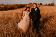 Couple In Love Wedding Newlyweds In A White Dress And Suit Are Walking On Long Grass In A Field In Summer. Man And Woman Holding Hands