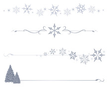 A Variety Of Winter Snowflake Divider Lines