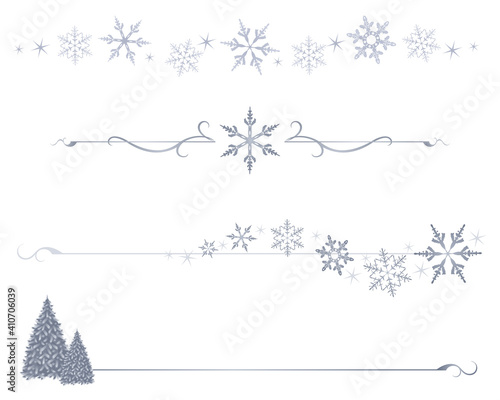 Obraz A variety of winter snowflake divider lines  - fototapety do salonu