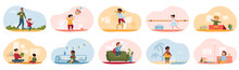 Cute Happy Diverse Children Performing Activities Or Doing Hobbies - Playing Toys, Walking, Swimming, Dancing, Listening To Fairy Tales, Playing Superheroes. Set Of Flat Cartoon Vector Illustrations