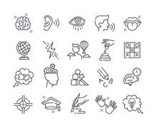 Collection Of Outline Icons. Human Cognitive Abilities And Preschool Development Of Kids. Fine Motor Skills, Logical Thinking, Articulation. Set Of Vector Illustrations Isolated On White Background