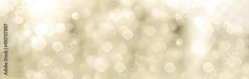 Obraz Festive abstract Christmas bokeh background - bokeh lights beige - New Year, Anniversary, Wedding, banner, panorama - fototapety do salonu