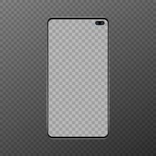 Black Smartphone With Blank Screen, Two Cameras, On A Transparent Background. Vector Illustration In A Realistic Style. Android Smartphone With Big Screen And Cameras. Blank Screen.