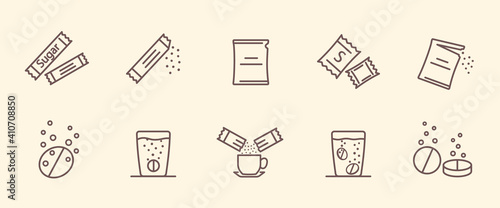 Fototapeta Packing line icons. Vector illustration included icon as sachet, sugar powder packet, soluble pill, effervescent pills. Set of outline vector icons obraz