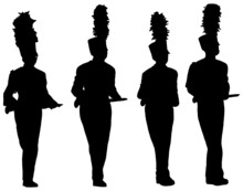 Marching Band Musicians Carrying Instruments Silhouette