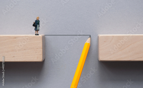 Business problem solving concept, overcoming obstacles Fotobehang