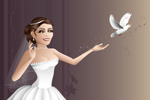 A Beautiful Bride Releasing A White Dove On Her Wedding Day.