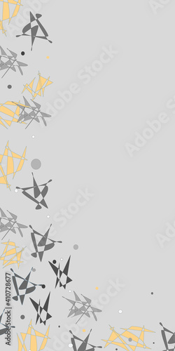 Canvas Print Shattered Abstract horizontal border vertical in grays and yellow vector repeat