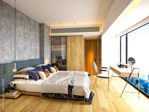 Obraz 3d render of luxury hotel suite room - fototapety do salonu
