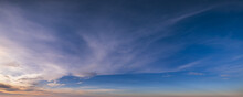 Evening Twilight Sky With Clouds Panorama Background
