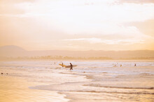 Sunset Surfing In Southern California