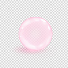 Pink Collagen Bubble Isolated On Transparent Background. Realistic Water Serum Droplet. Vector Illustration Of Glass Surface Ball Or Rain Drop