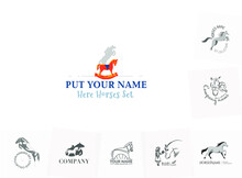 Horses. Logo Set. In Different Style And For Different Target. Can Be Used In Pediatrician, In Sports, In Toys Etc.