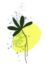 A Branch With Hand-drawn Green Leaves On A Watercolor Yellow Background. Doodle Style Leaves. Vector Illustration. Suitable For Postcards, Weddings, Icons, Stickers. Isolated On White Background.