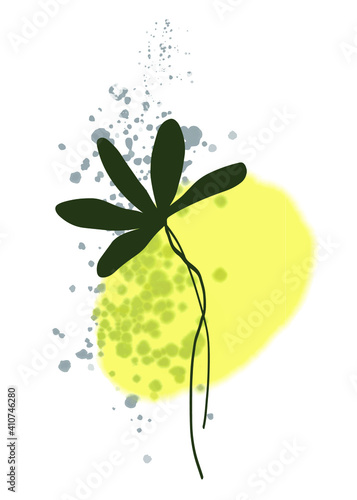 Canvas Print A branch with hand-drawn green leaves on a watercolor yellow background