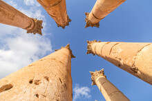 Ancient Columns Of Jerash, Jordan