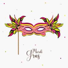 Carnival Mask In A Mardi Gras Poster - VEctor