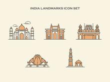 India Landmarks Outline Icon Set - Landmarks Building Icon - Landmarks Building Of India - Vector Illusrtation