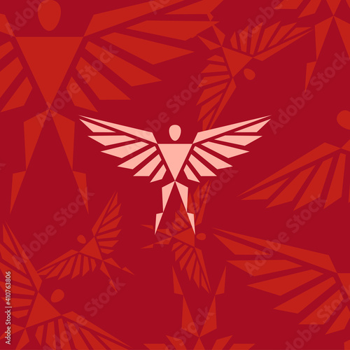 Photo Creative angel shape with combination triangle for logo icon