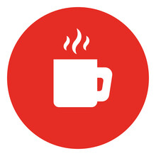 White Cup With Hot Coffee, Illustration, Vector On White Background.
