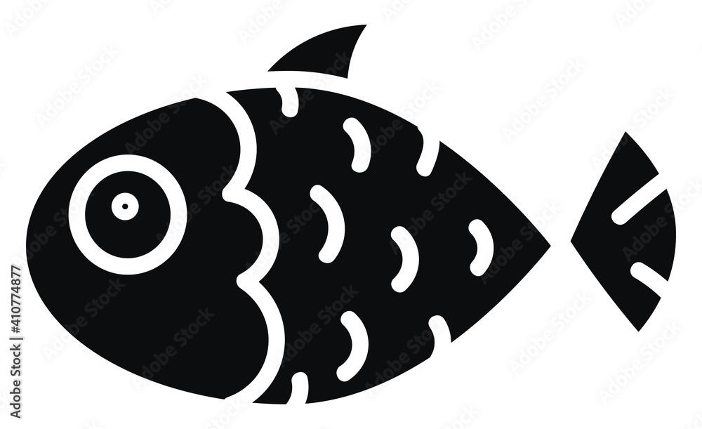 Fototapeta Black fish with gills , illustration, vector on white background.