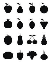 Black Fruits And Vegetables, Illustration, Vector On White Background.