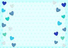 青 ホワイトデー 父の日 キラキラ ハート フレーム カード