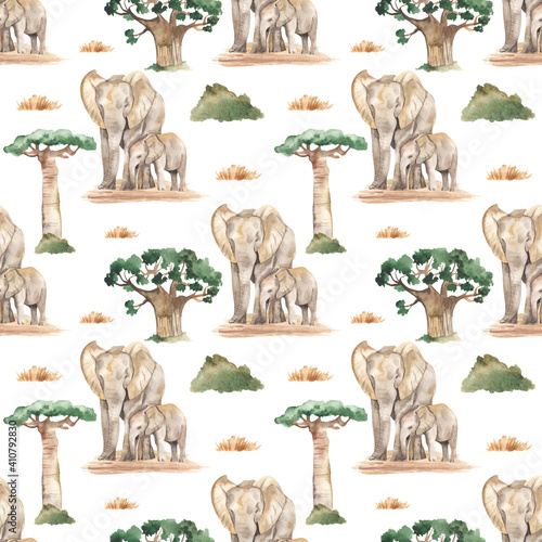 Canvas Watercolor seamless pattern mom and baby elephants in the African savannah with
